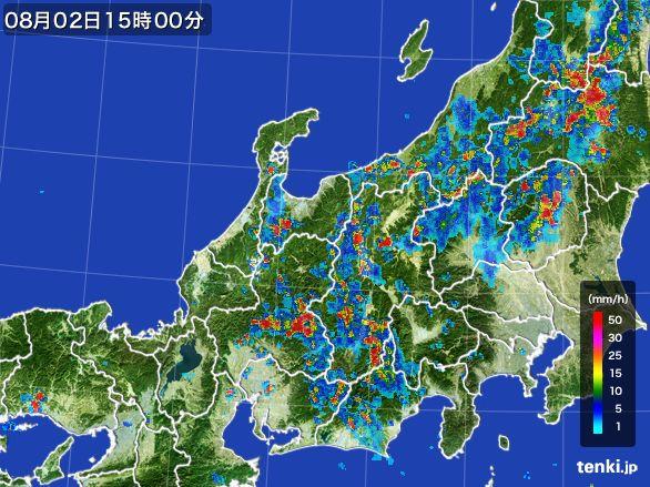 北陸地方の雨雲レーダー(2016年08月02日)
