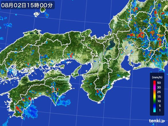近畿地方の雨雲レーダー(2016年08月02日)
