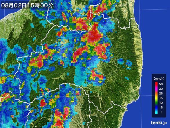 福島県の雨雲レーダー(2016年08月02日)