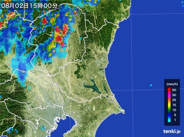 茨城県の雨雲レーダー(2016年08月02日)