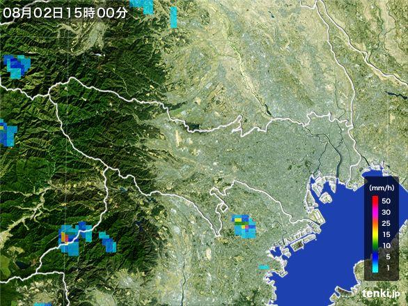 東京都の雨雲レーダー(2016年08月02日)