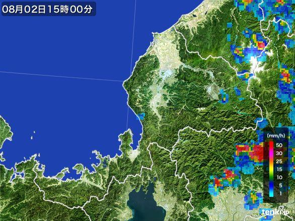 福井県の雨雲レーダー(2016年08月02日)