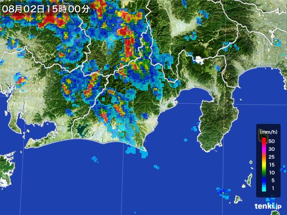 静岡県の雨雲レーダー(2016年08月02日)
