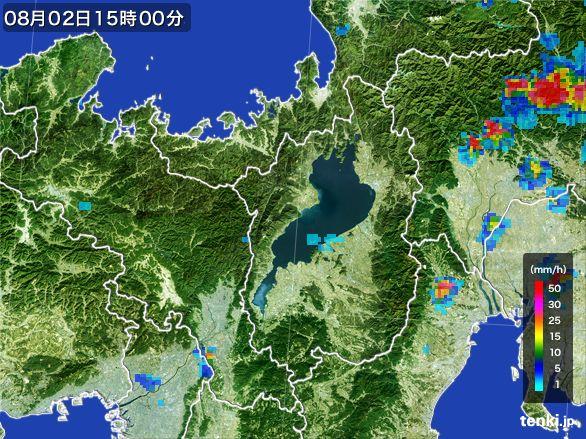 滋賀県の雨雲レーダー(2016年08月02日)