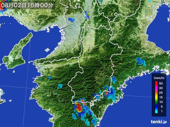 奈良県の雨雲レーダー(2016年08月02日)