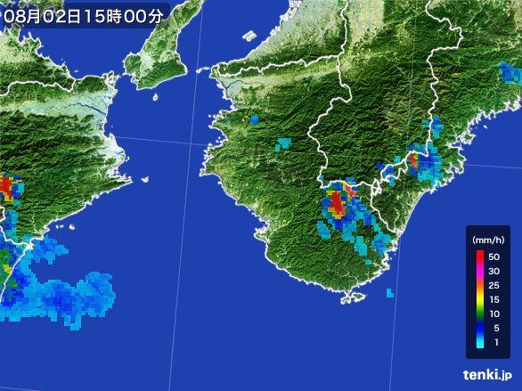 和歌山県の雨雲レーダー(2016年08月02日)