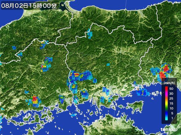 岡山県の雨雲レーダー(2016年08月02日)