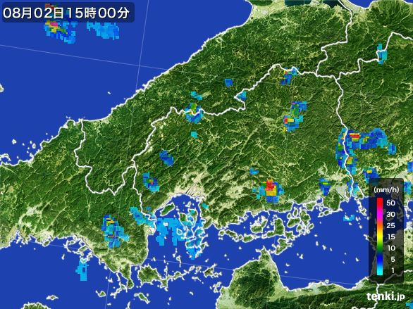 広島県の雨雲レーダー(2016年08月02日)