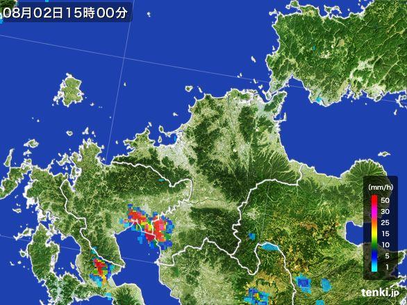 福岡県の雨雲レーダー(2016年08月02日)