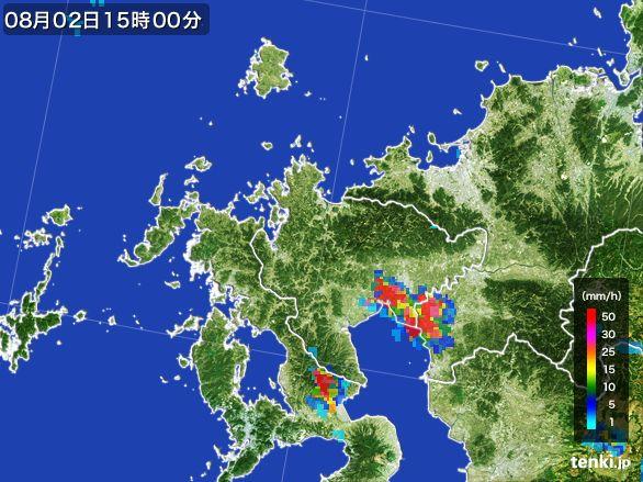 佐賀県の雨雲レーダー(2016年08月02日)