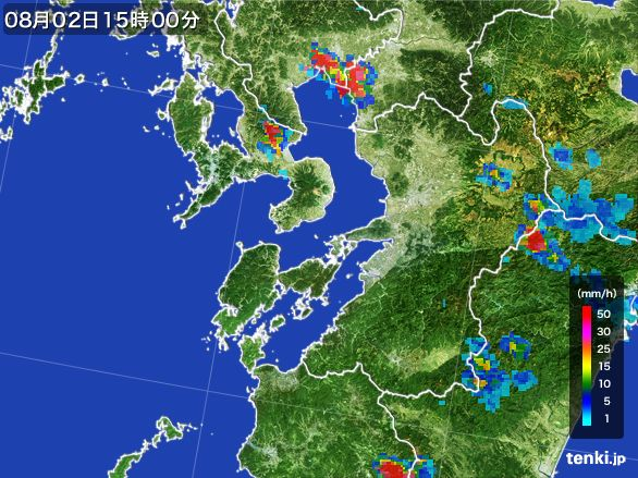 熊本県の雨雲レーダー(2016年08月02日)