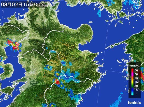 大分県の雨雲レーダー(2016年08月02日)