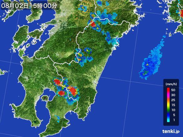 宮崎県の雨雲レーダー(2016年08月02日)