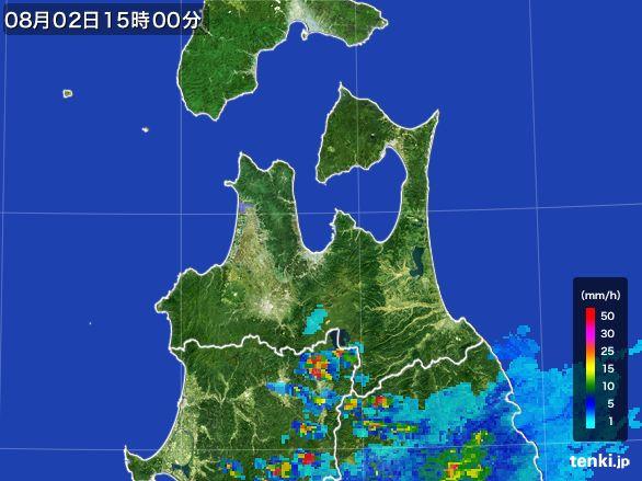 青森県の雨雲レーダー(2016年08月02日)