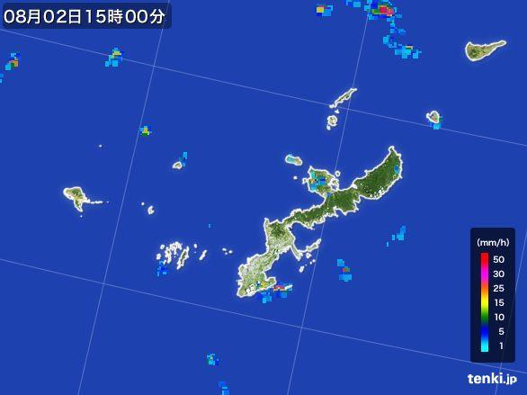 沖縄県の雨雲レーダー(2016年08月02日)
