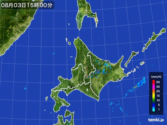 北海道地方の雨雲レーダー(2016年08月03日)