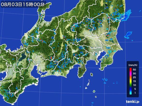 関東・甲信地方の雨雲レーダー(2016年08月03日)