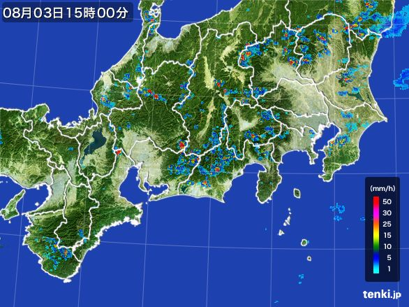 東海地方の雨雲レーダー(2016年08月03日)