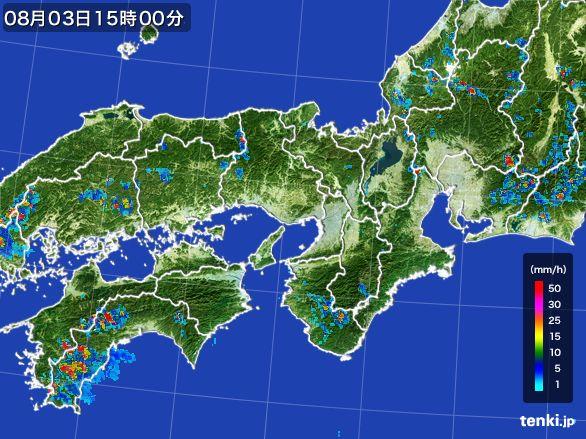 近畿地方の雨雲レーダー(2016年08月03日)