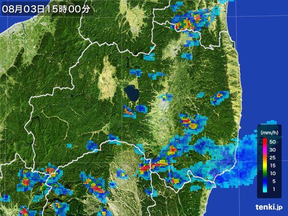 福島県の雨雲レーダー(2016年08月03日)