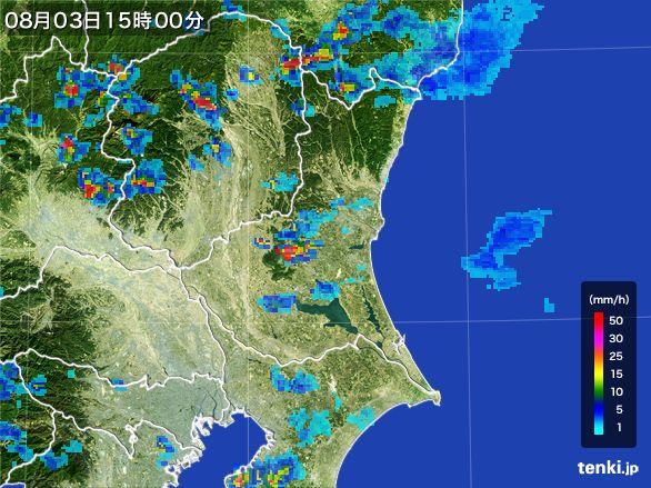 茨城県の雨雲レーダー(2016年08月03日)