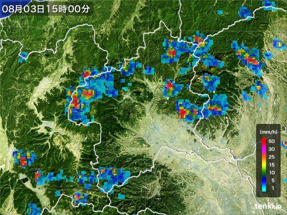 群馬県の雨雲レーダー(2016年08月03日)