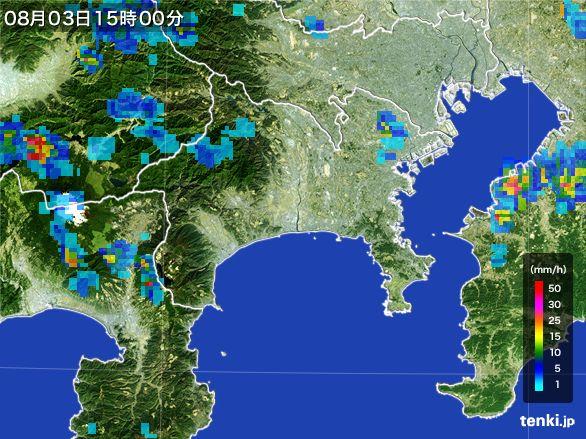神奈川県の雨雲レーダー(2016年08月03日)