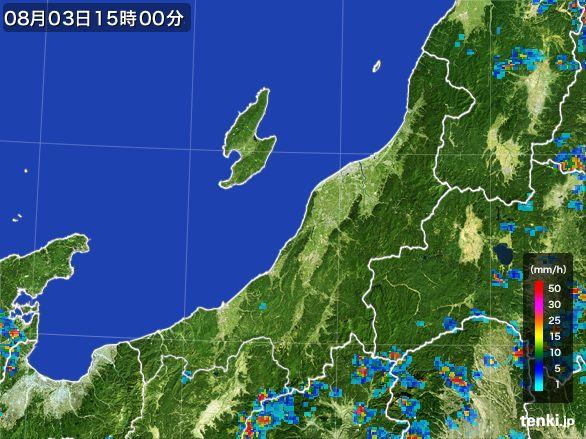 新潟県の雨雲レーダー(2016年08月03日)