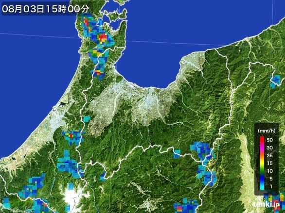 富山県の雨雲レーダー(2016年08月03日)