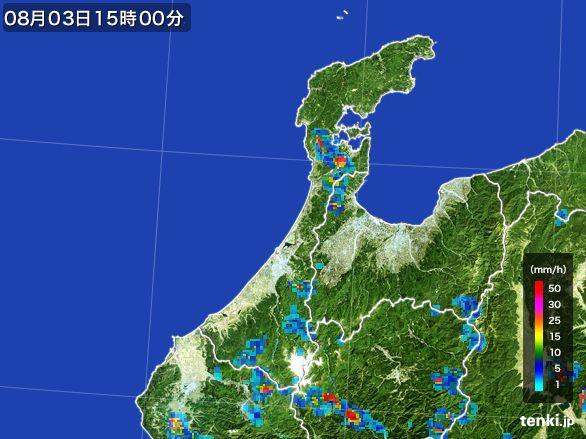 石川県の雨雲レーダー(2016年08月03日)