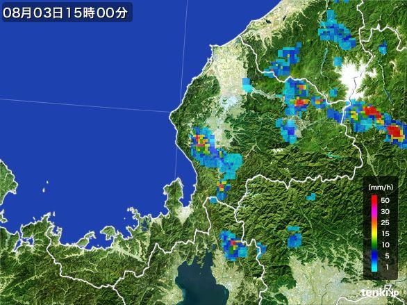 福井県の雨雲レーダー(2016年08月03日)