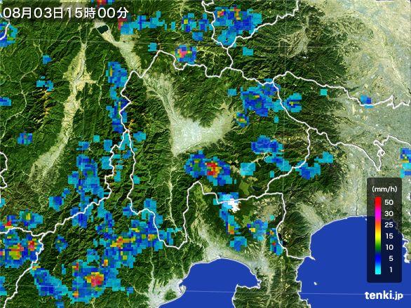 山梨県の雨雲の動き(2016年08月03日)
