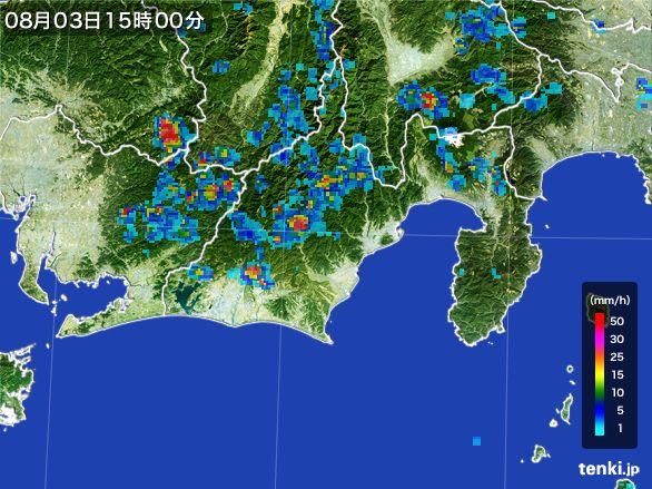 静岡県の雨雲レーダー(2016年08月03日)