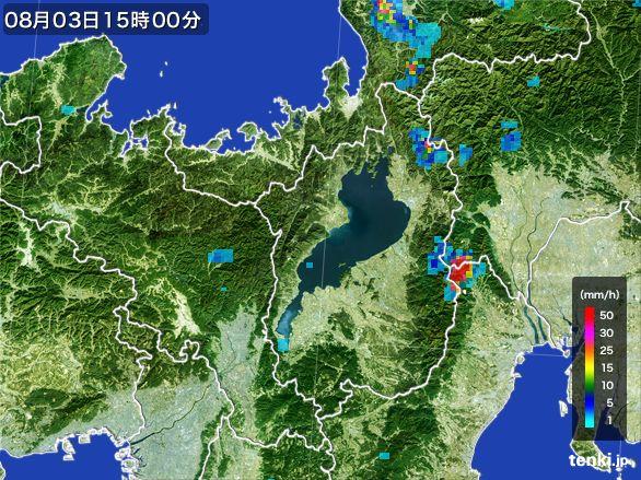 滋賀県の雨雲レーダー(2016年08月03日)