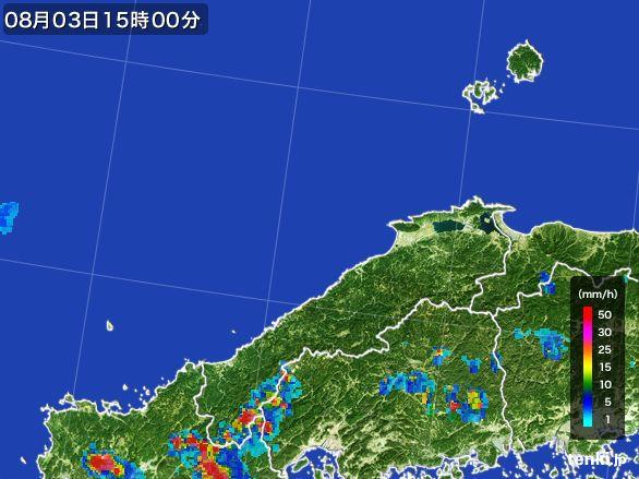 島根県の雨雲レーダー(2016年08月03日)