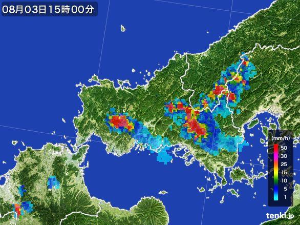 山口県の雨雲レーダー(2016年08月03日)