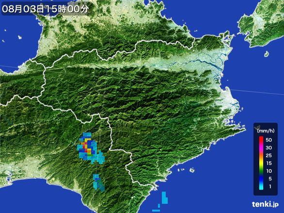 徳島県の雨雲レーダー(2016年08月03日)