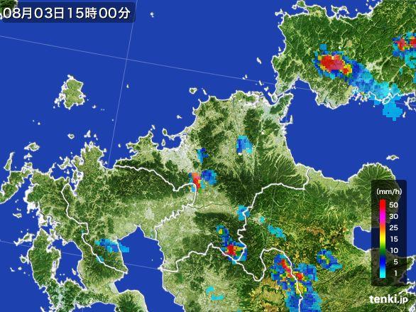 福岡県の雨雲レーダー(2016年08月03日)