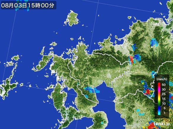 佐賀県の雨雲レーダー(2016年08月03日)