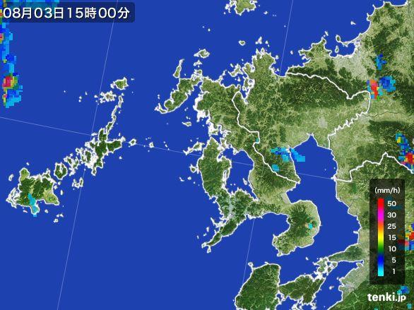 長崎県の雨雲レーダー(2016年08月03日)