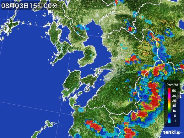 熊本県の雨雲レーダー(2016年08月03日)