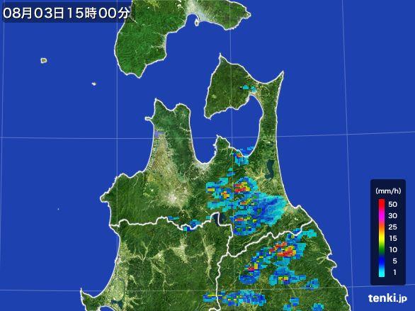 青森県の雨雲レーダー(2016年08月03日)