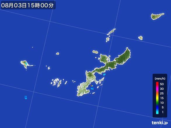 沖縄県の雨雲レーダー(2016年08月03日)