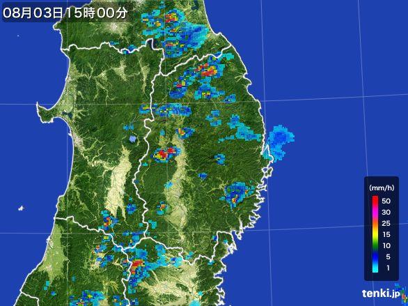 岩手県の雨雲レーダー(2016年08月03日)