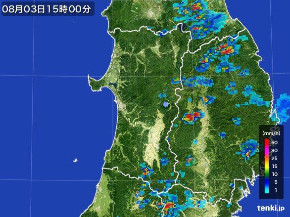 秋田県の雨雲レーダー(2016年08月03日)