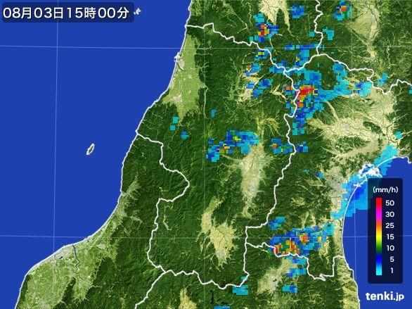 山形県の雨雲レーダー(2016年08月03日)