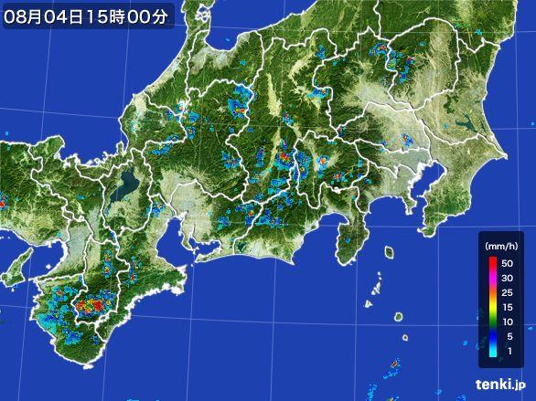 東海地方の雨雲レーダー(2016年08月04日)