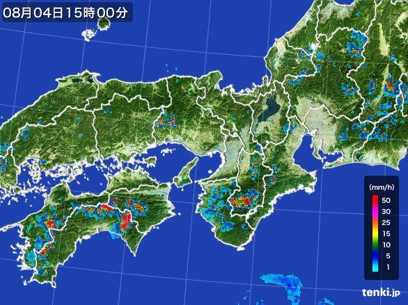 近畿地方の雨雲レーダー(2016年08月04日)