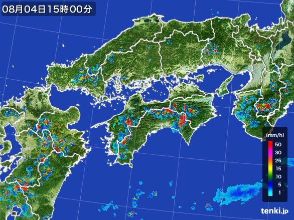 四国地方の雨雲レーダー(2016年08月04日)