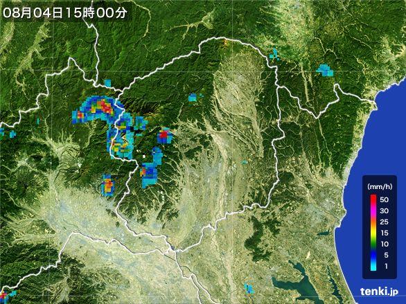 栃木県の雨雲レーダー(2016年08月04日)